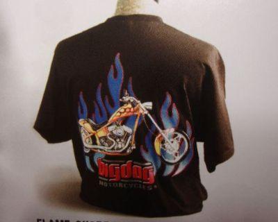 Big Dog Motorcycles Flame Chopper Shirt Lg W/ Front & Back Design Short Sleeve