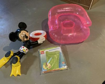 3 inflatable pool toys-adult size mat(new)cute Mickey drink holder & kid chair