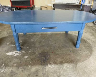 Fun blue wood coffee table with drawer
