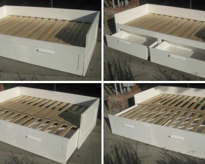 BRIMNES Daybed frame with 2 drawers, whiteTwin