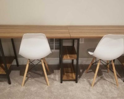 Double desk/work station and two matching chairs.