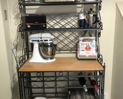 Kitchen shelving unit with wine rack