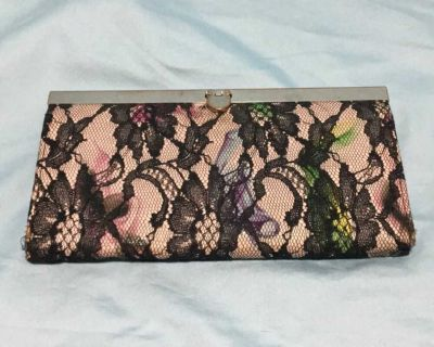 Pink clutch with black lace