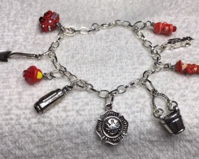 Charm Bracelet Firefighter Silver Charms Red Handmade and Handpainted Charms Adjus...