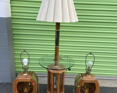 3 Vintage Bella lighting oak & etched smoked glass 3 way Table lamp light