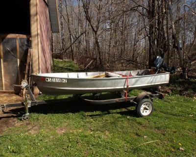 Aluminum boat 12ft, motor 9.9hp , trailer