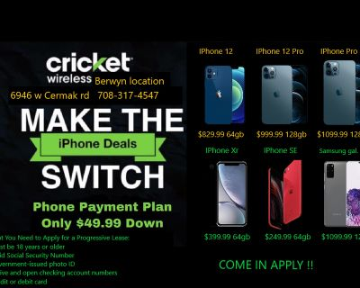 Payment Plan Available @ CRICKET6946 W CERMAK RD IN BERWYN