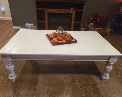 Antiqued White Coffee Table