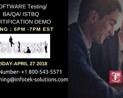 Free Software Testing/QA/BA/ISTQB Certification Demo Session