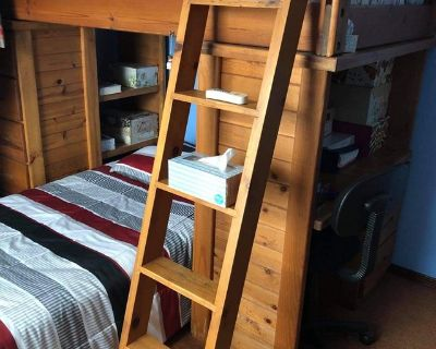 Twin Bunk beds with mattresses and desk and drawers
