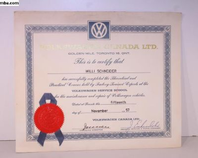 VW of Canada 1957 Technician Training Diploma