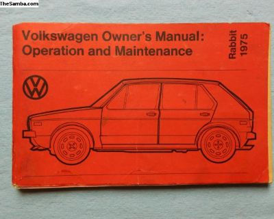 very nice used 1975 Rabbit owners manual