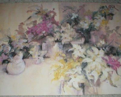 Floral Art Print by Len Garon 1987 Signed Dated & Numbered - Unframed