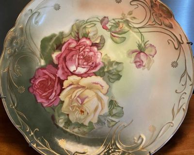 Pretty Antique German Plate with Hanger