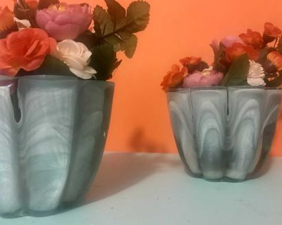 Set of marbleized candle holders/flower pots