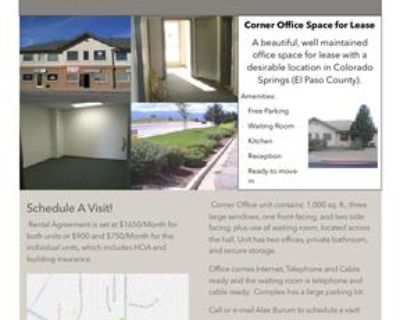 Beautiful Corner Office Space Available