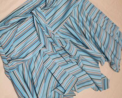Blue Striped Flared Skirt