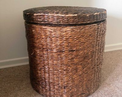 Wicker Storage Container with lid 17 d x 17 h
