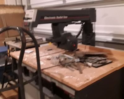 "Craftsman 10"" Electronic Radial Arm Saw and Ryobi 10"" Table Saw with blades."