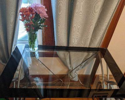 Glass desk with usb ports