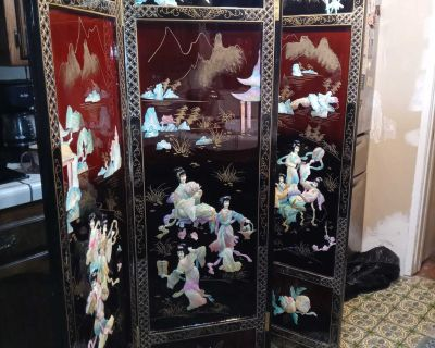 Asian Black Lacquer Figural Mop 4 Panel Room Divider