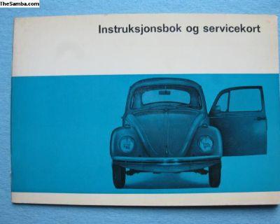 NOS 1968 Beetle owners manual in Norwegian