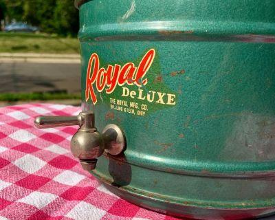 Vintage Royal Deluxe Metal Ceramic Lined Picnic Jug w/ Spigot