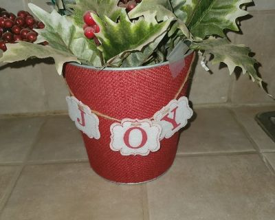 Holiday bucket with faux plants