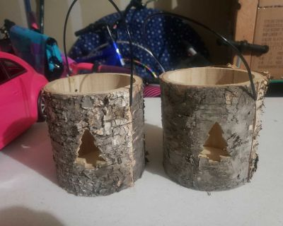2 wood hanging candle holders