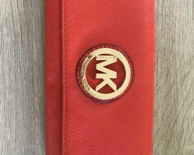 Michael Kors Leather Wallet. Orange-Red Great Condition except pen marks inside. See pics!