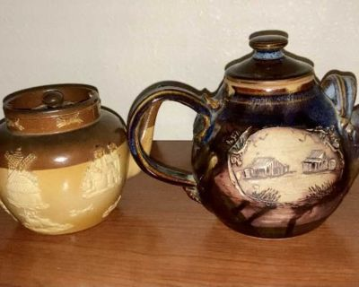 1857 Hand painted Denise B Yeppoon and Royal Boulton teapots