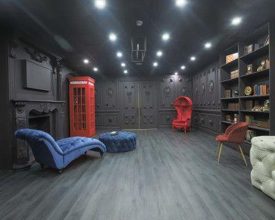 Naturally Lit Dark Royal Room with Fire Place Mantle, Clockwall, Bookshelf & Roman Columns, Brampton
