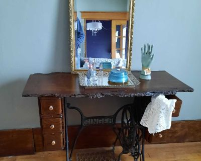 Antique singer sewing machine live edge table