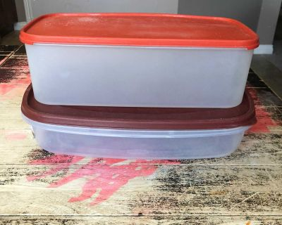 Two large food storage containers