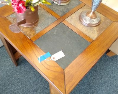 Wood End Table with Slate Tile Top