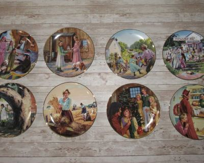 Vintage Little House on the Prairie Collectible Decorative Porcelain Plates Set 8 Signed/Numbered