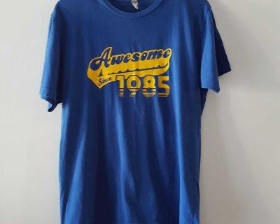 """Next Level Apparel """"Awesome Since 1985"""" Blue Short Sleeve Graphic Tee Size Medium"""