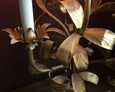 French Floral Toleware Midcentury Lamp