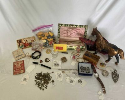 Vintage Antique Small Items lot Sterling Silver Skeleton Key