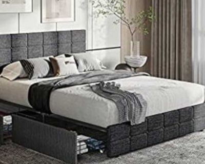 Tiptiper Queen Size Platform Bed Frame, Storage Bed with 4 Drawers