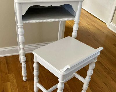 Vintage Antique Telephone Table and bench