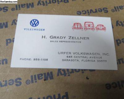 Urfer Volkswagen Business Card Cool