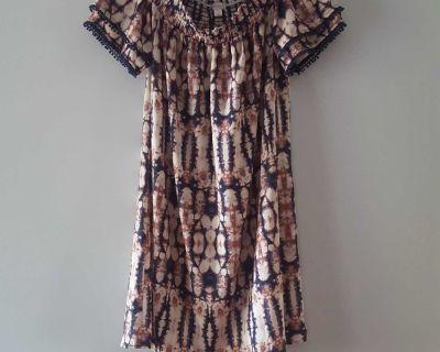 Xhilaration Off The Shoulder Tie Dye Dress with Tassel Pom Pom Sleeves Size Small.