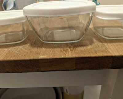 3 Glass Storage containers