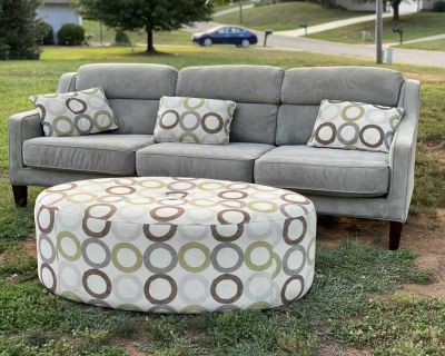 Grey 98 MicroSuede Sectional Sofa w/Oval Ottoman and Matching Throw Pillows