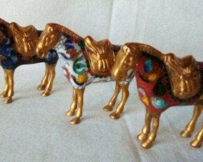 Lot of 3 Antique Vtg Miniature Asian Painted Metal Horse Figurines