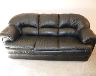 Black Leather Sofa For Sale - Great Condition