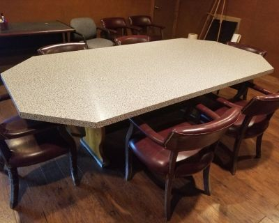 Elegant Marble Look Conference Table with Plush Leather Chairs