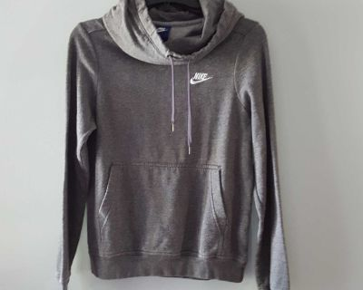 Nike Gray Hooded Pullover with Cowl Neck and Kangaroo Front Pocket Size XS Extra Small