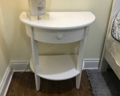 White bedside table with drawer $50